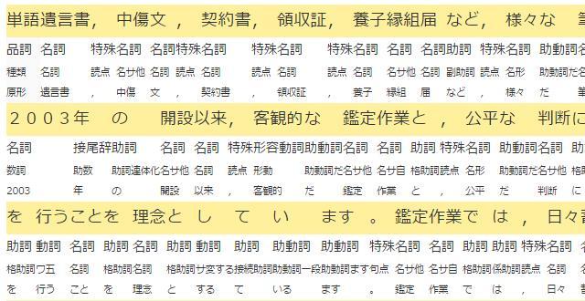 特殊鑑定における語句分解表のイメージ