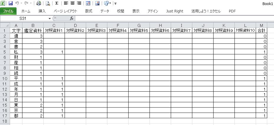 筆跡鑑定用の文字集計表-見本