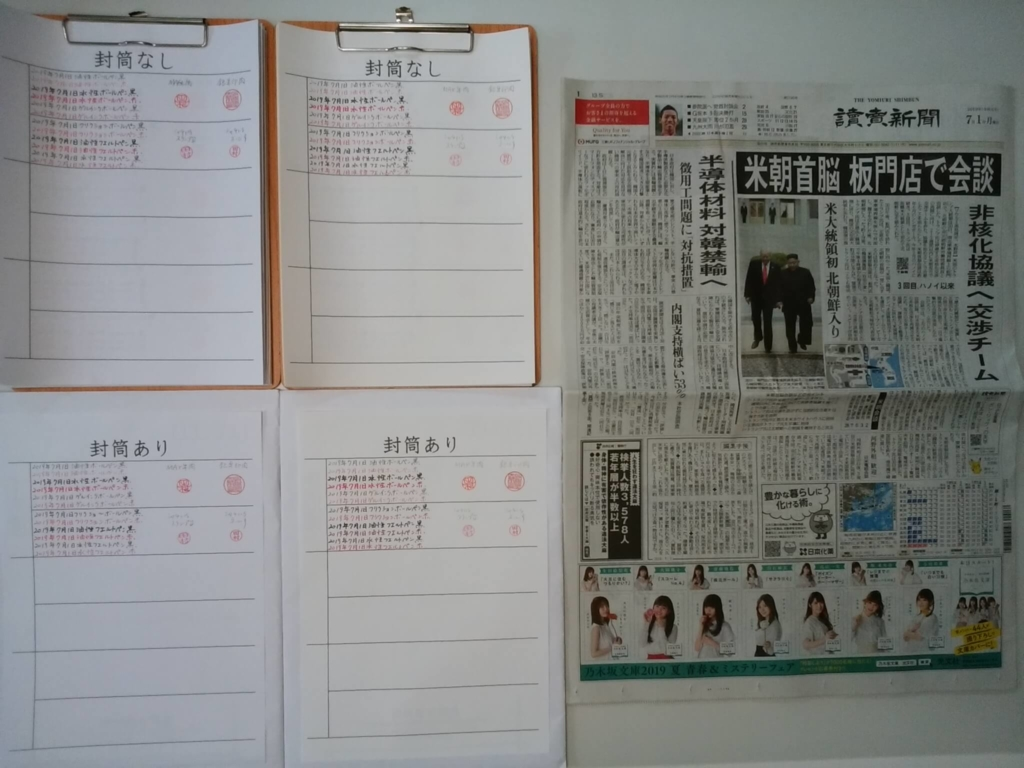 2019年7月1日筆跡鑑定の研究用試料の作成