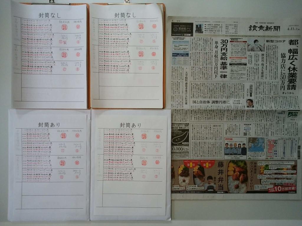 筆跡鑑定の研究用試料の作成:2020年4月11日