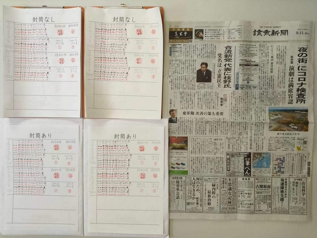 筆跡鑑定と印章鑑定の研究用試料の作成:2020年9月11日