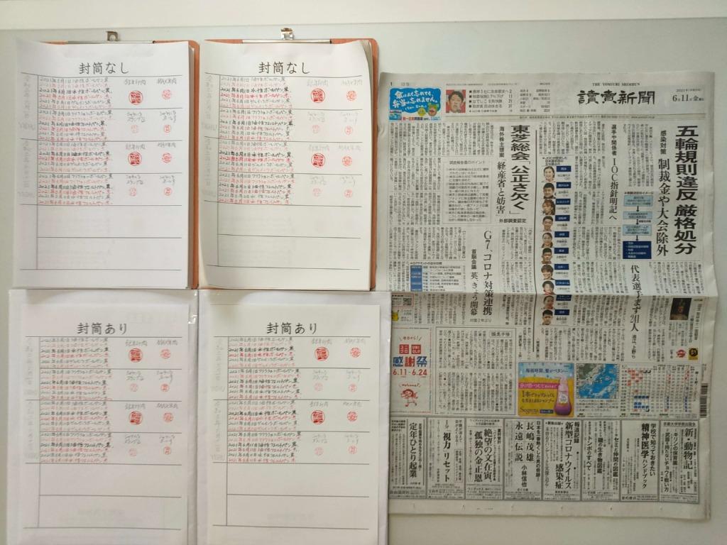 筆跡鑑定と印章鑑定の研究用試料の作成:2021年6月11日