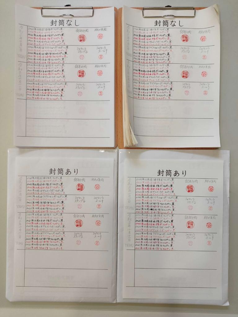 筆跡鑑定と印章鑑定の研究用試料の作成:2,021年10月11日